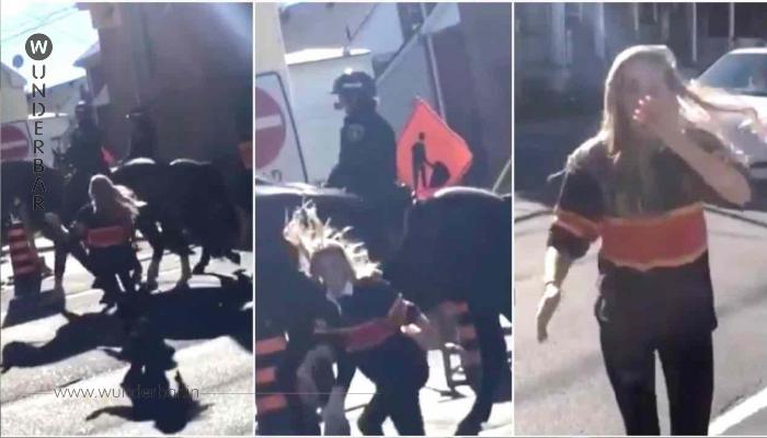 Frau schlägt das Pferd eines Polizisten – warte auf die Reaktion des Pferdes, wenn sie versucht, wegzulaufen!