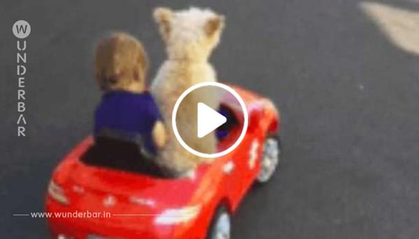 Mutter filmt Kind im roten Spielzeugauto – schaut auf den Hund, als er sich umdreht!