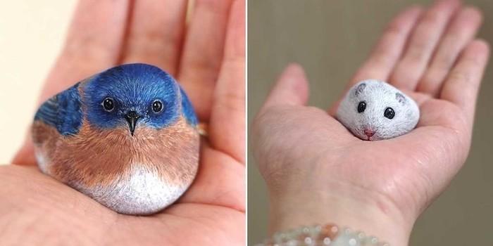 Japanischer Künstler verwandelt Steine in süße Tiere