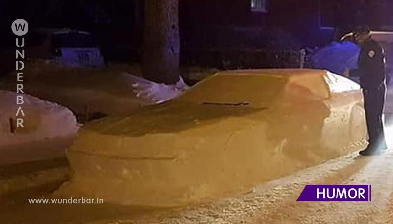 """Kanadier baut Schnee-Auto, Polizei schreibt """"Strafzettel""""."""