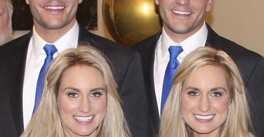 Identische Zwillingsschwestern heiraten identische Zwillingsbrüder