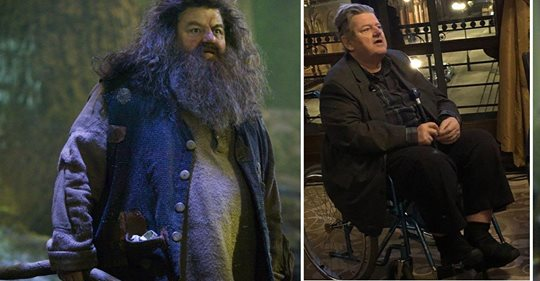 """ROBBIE COLTRANE SPIELTE DEN HALBRIESEN RUBEUS HAGRID """"Harry Potter""""-Star  im Rollstuhl"""