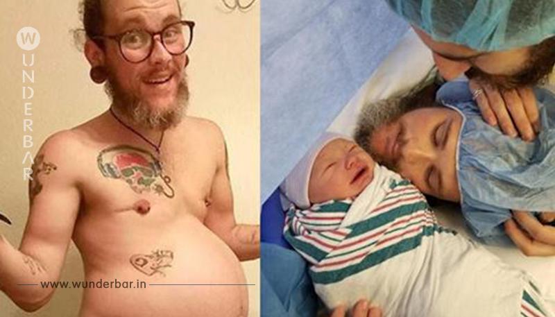 Mann bringt gesundes Kind zur Welt.
