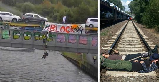 Wolfsburg: Umwelt-Aktivisten behindern beladenen Zug von VW vor Werk – Polizei ist ausgerückt