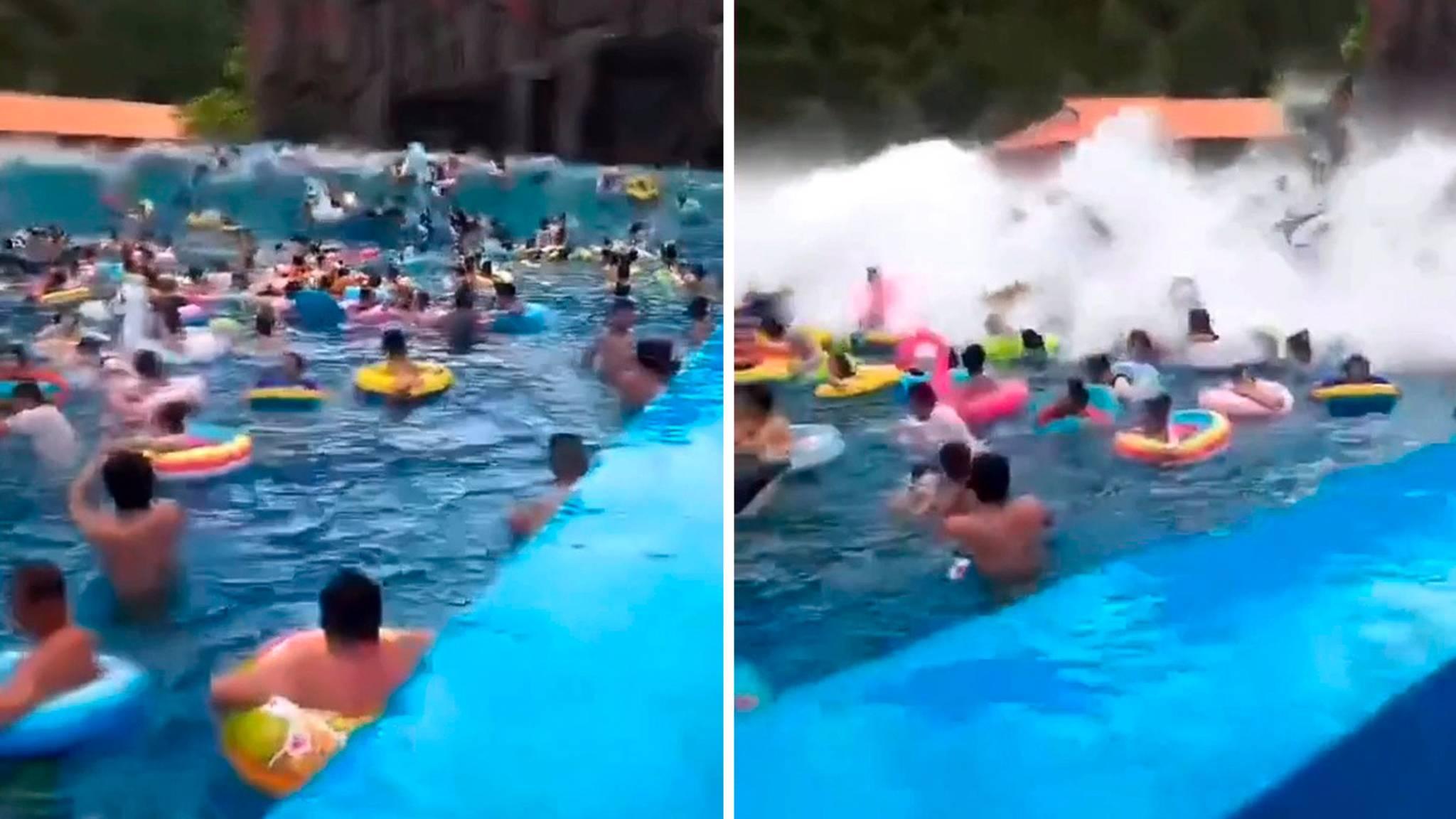 Tsunami im Wellenbad – gewaltige Wasserwand verletzt 44 Badegäste
