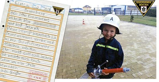 München: 7-Jähriger bewirbt sich bei der Feuerwehr – Bewerbungsbrief verzückt Kameraden