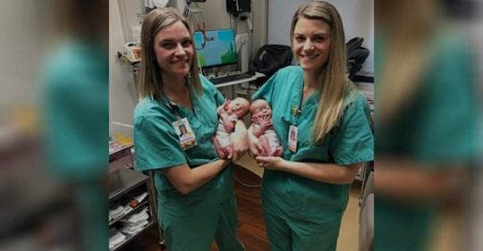 Eineiige Krankenschwester-Zwillinge helfen bei Geburt von eineiigen Zwillingen
