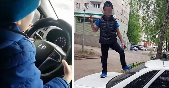 Stolze Mama filmt ihren 6 jährigen Sohn, wie sie ihn mit 130 km/h Auto fahren lässt