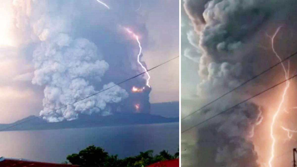 Blitze bei Vulkanausbruch: Bewohner fürchten gefährliche Eruption