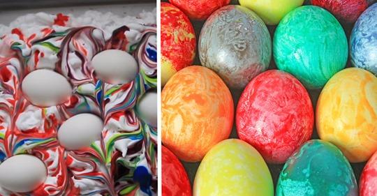 Eier mit Rasierschaum färben: So gelingt die Marmor-Optik