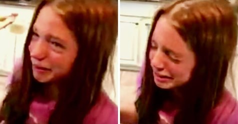 Eltern bringen ein neu adoptiertes Baby-Schwesterchen nach Hause und die Tochter vergießt Tränen