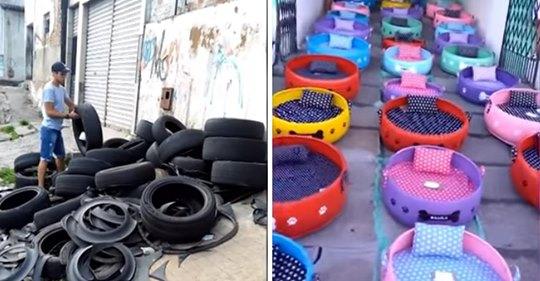 Künstler sammelt alte Reifen, um sie in gemütliche Betten für streunende Hunde und Katzen zu verwandeln