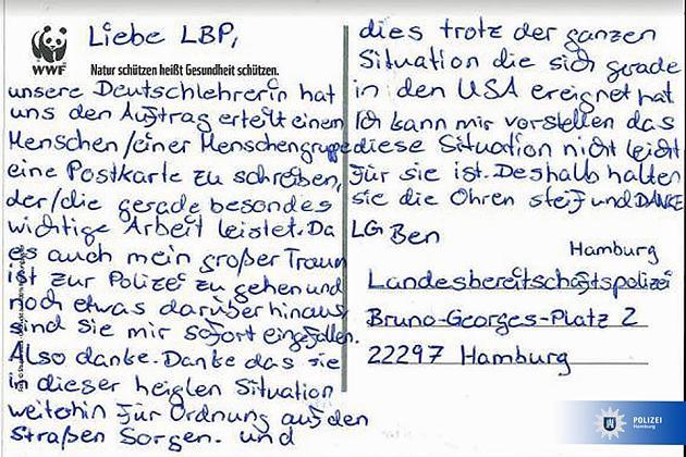 'Halten Sie die Ohren steif': Kleiner Ben schreibt rührende Postkarte an die Hamburger Polizei