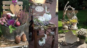 Verwenden Sie einen alten Stuhl, um Ihre schönsten Herbstdekorationen auszustellen.