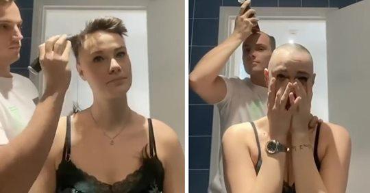 Rührende Aktion: Mann rasiert kranker Freundin eine Glatze – dann setzt er selbst an