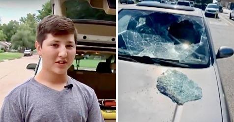 12-jähriger kommt in heißem Auto eingeschlossenen Kleinkind zur Hilfe, indem er die Windschutzscheibe einschlägt