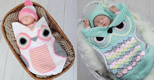 Sind Sie auf der Suche nach einigen netten Häkelideen? Diese Eulen  Schlafsäcke für Babys sind wirklich super süß und herrlich zum Liegen!