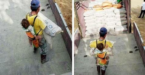 Verwitweter Vater trägt seinen Sohn jeden Tag auf den Schultern: Er nimmt ihn mit zur Arbeit und lässt ihn nie allein