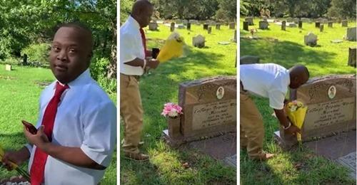 Liebevoller Teenager mit Behinderung besucht den Grabstein seiner verstorbenen Mutter, um ihr zu sagen: Ich habe es geschafft. Ich habe meinen Abschluss gemacht