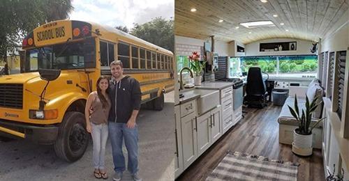 Camper zu teuer? Dieses Paar baute einen billigen alten Schulbus für den Bruchteil des Preises um!