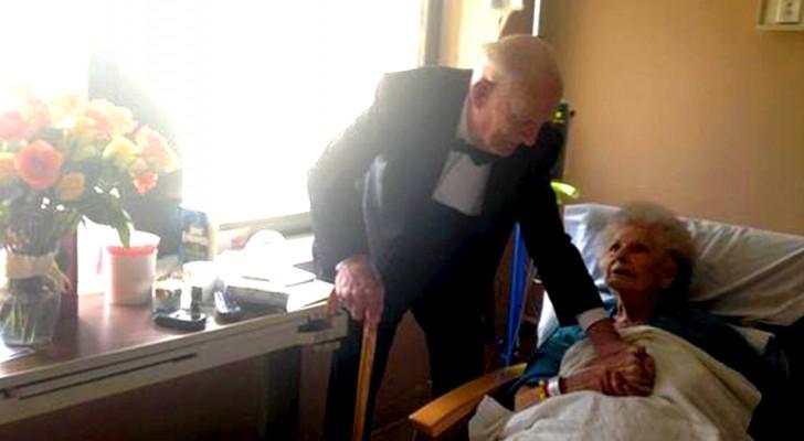 An seinem 57. Hochzeitstag taucht er im Smoking und mit einem Blumenstrauß im Krankenhaus seiner Frau auf
