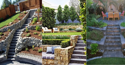 Höhenunterschiede im Garten für zusätzliche Dynamik, 8 schöne Beispiele.