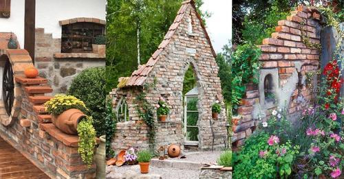 Kreieren Sie aus Ziegelsteinen eine alte Ruine im Garten. Siehe hier 8 Beispiele.