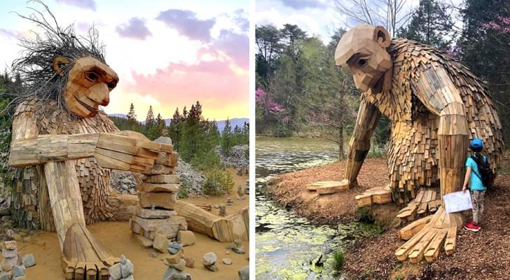 Dieser Künstler hat im Wald versteckte Skulpturen geschaffen, um die Besucher für das Thema Recycling zu sensibilisieren