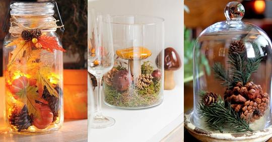 Füllen Sie Gläser mit Herbstmaterialien und gestalten Sie damit wunderschöne Dekorationen.