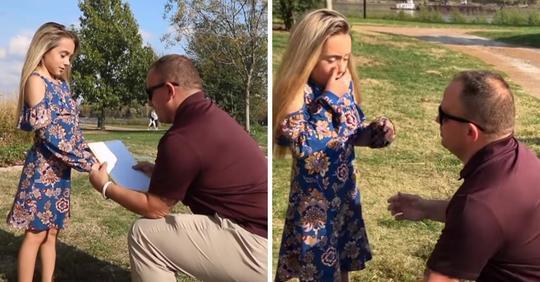 Der Ehemann der Mutter unterbricht das Familienfotoshooting, um ihrer Tochter zu sagen, dass er sie adoptiert hat