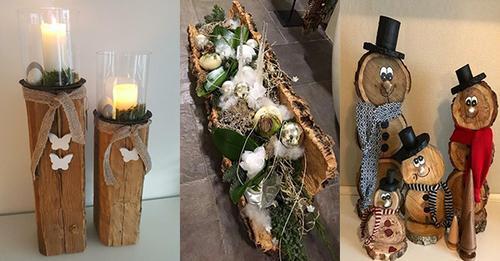 Aus Holzstücken können Sie die schönsten Weihnachtsdekorationen gestalten!