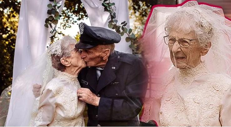 97-jährige Frau und Ehemann feiern nach 77 Jahren endlich ihre Hochzeit
