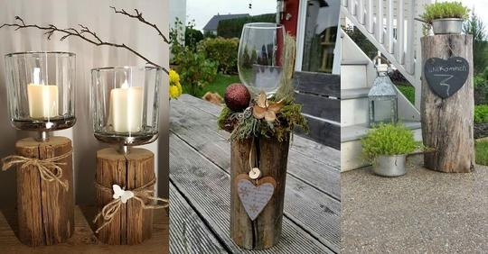 Holz und Baumstämme sind billig erhältlich und man kann damit wirklich fantastische Dekorationen gestalten!
